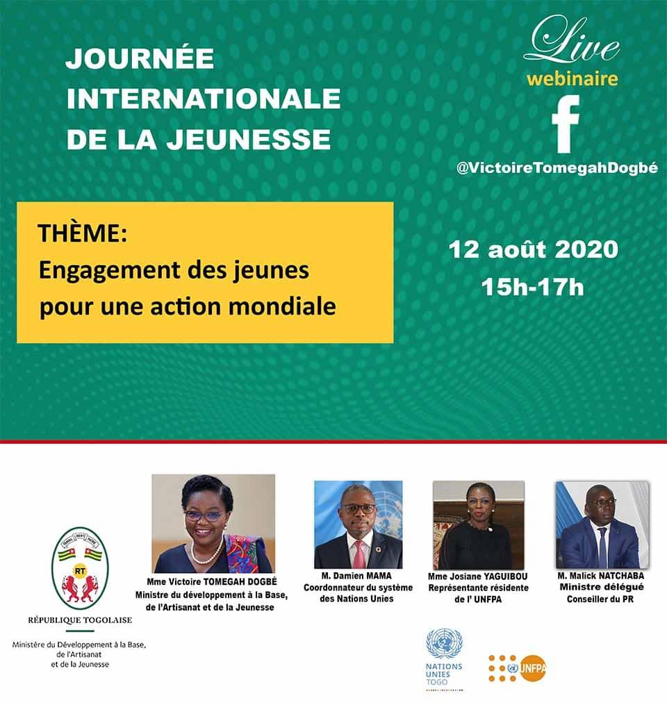 Ce mercredi 12 août, Victoire Dogbé célèbre, à travers un webinaire avec la jeunesse togolaise la journée internationale de la jeunesse sur le thème : engagement des jeunes pour une action mondiale.  https://t.co/cNNoeAffJR #jij #VictoireDogbe https://t.co/hI12sMnqIR