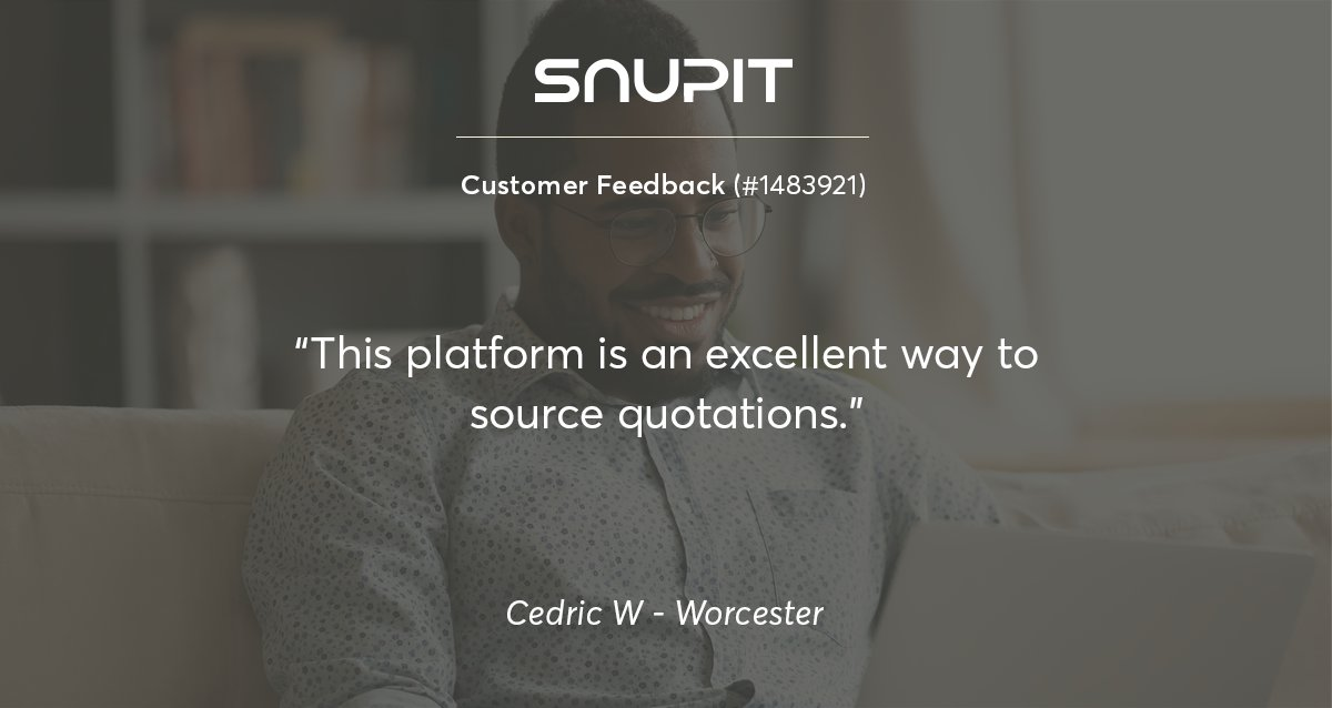 Thank you for taking the time to rate our services, Cedric! #customerfeedback  Credric posted a request for Roofing Suppliers in Worcester and received quotes quickly! #roofingsuppliers #worcester #westerncape  Get quotes with the touch of a button with http://www.snupit.co.za !pic.twitter.com/N2RDjOJHoY