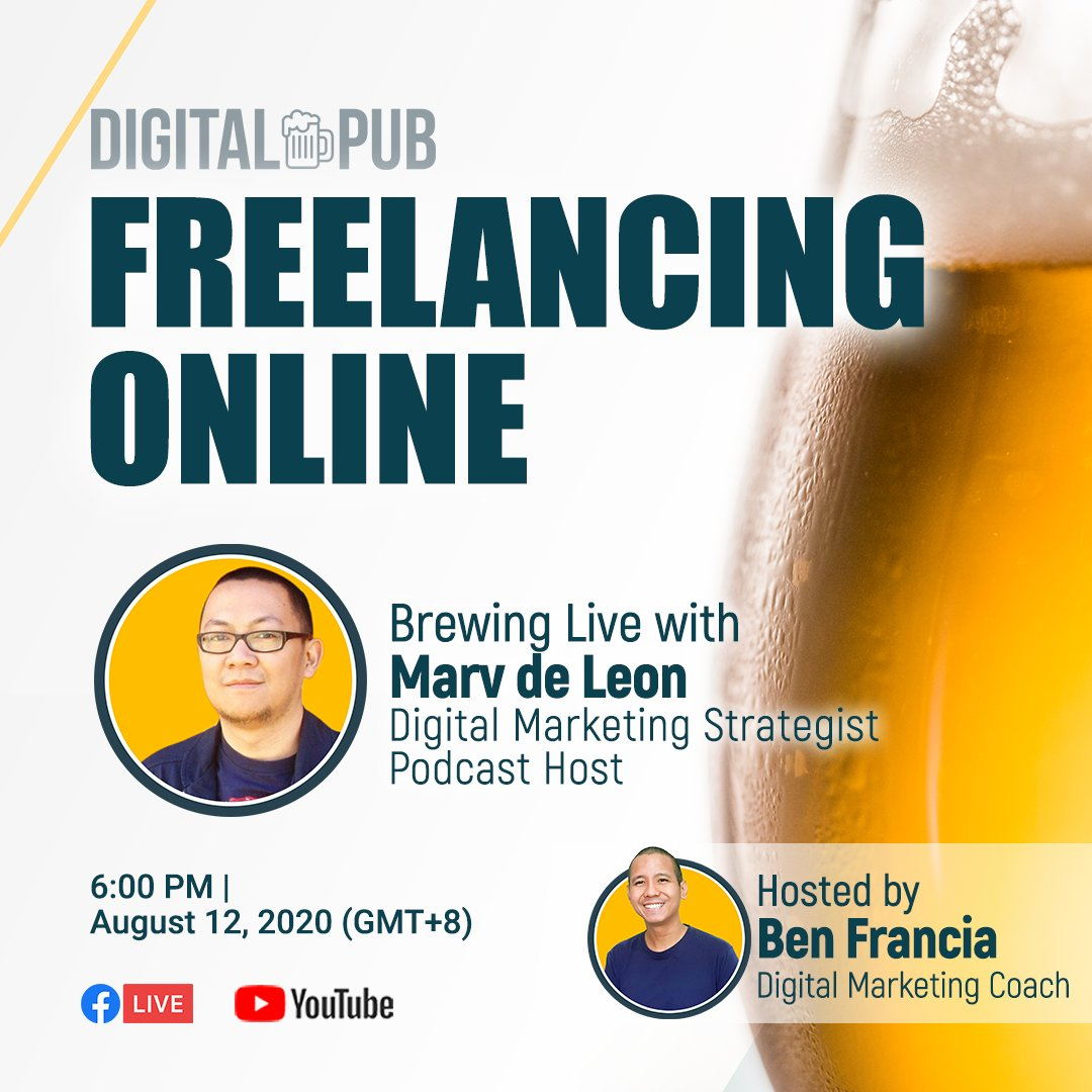 Join me tomorrow as we talk about Freelancing Online with Marvin de Leon at 6PM! Ready your beers and questions!  Live Video Link: https://t.co/SNC9gQexby https://t.co/OpPY34qKPp