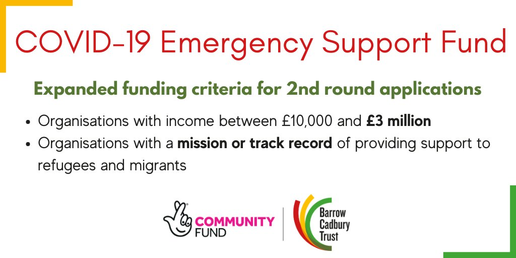 Our #NationalLottery COVID-19 Emergency Support Fund is opening for a 2nd round of applications w/ expanded funding criteria. Check if you are eligible: bit.ly/3i4CWwA Open for applications until we reach limit of funds available, early submission recommended!