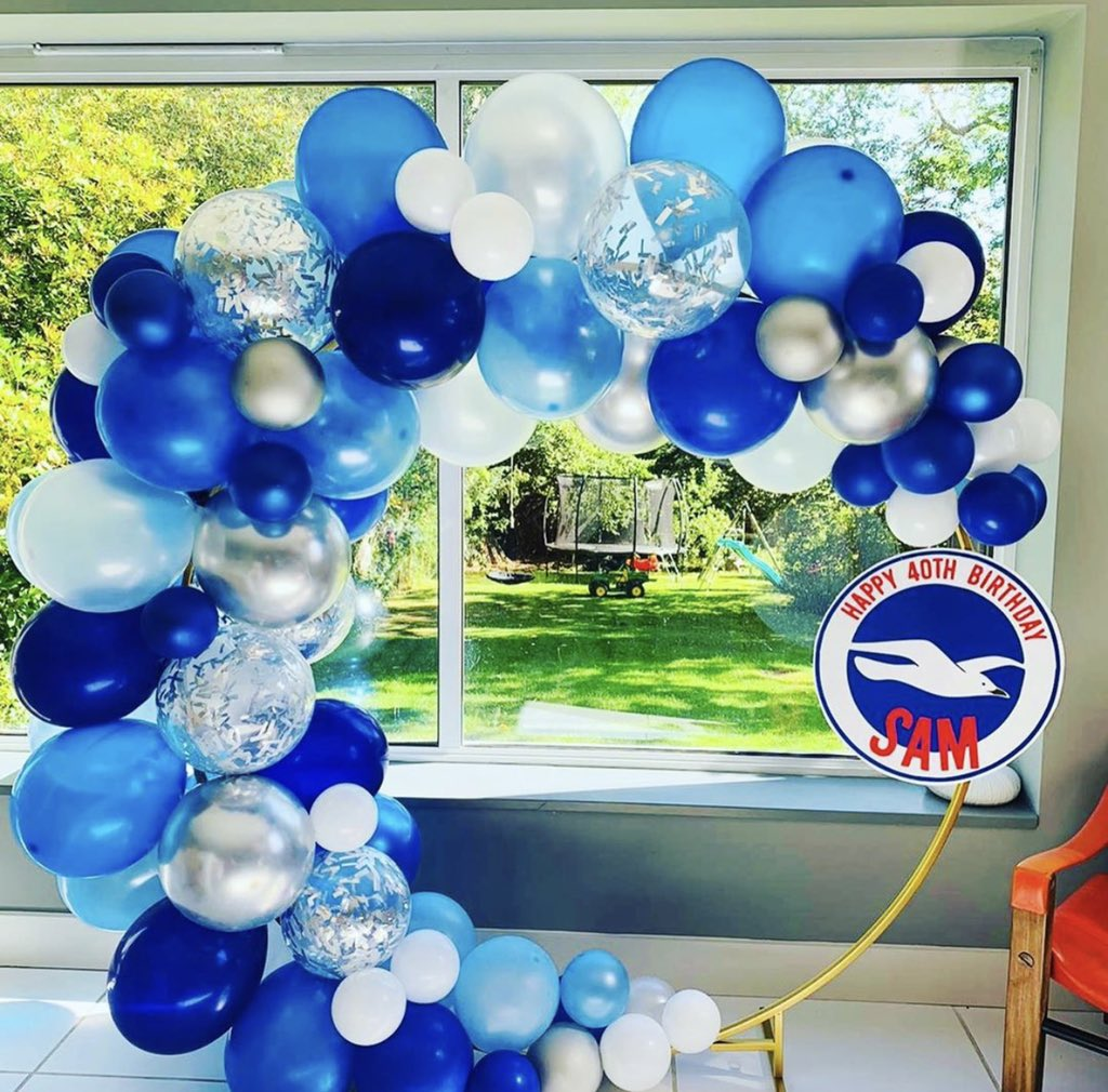 Our client, a Brighton and Hove Albion fan turned 40 today! A blue, white and silver balloon hoop to celebrate the big event!We hope you enjoyed your day x  #football #soccer #nfl #sports #futbol #fifa #sport #ronaldo #goals #futebol #cr #love #seriea #PremierLeaguepic.twitter.com/tYjJoc8uNC