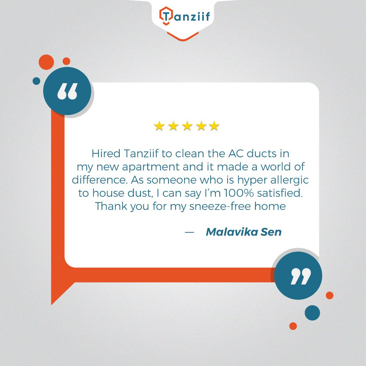 Happy customers make us happy and drive us to promote healthier surroundings.  Book a cleaning service with us today!  Call: 800-8269443 (TANZIIF)  #CustomerFeedback #Testimonials #happyclient #TanziifAEpic.twitter.com/Yf9H9gL1o4