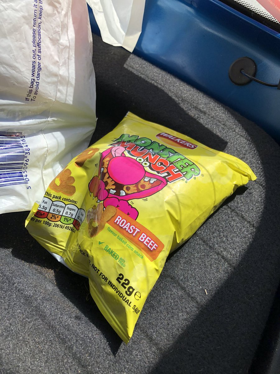 Shout out to the random packet of Monster Munch that has been sat on my mum's parcel shelf for months.