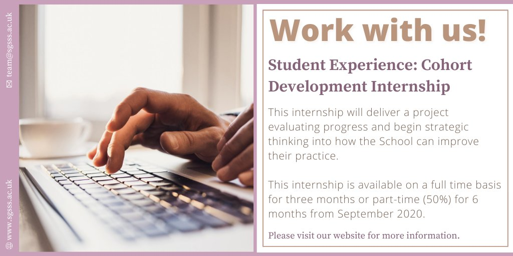 The SGSSS Student Experience Internship will deliver a project evaluating progress and begin strategic thinking into how the School can improve their practice. Interested in working with us? Take a look at the full job description on our website 👉https://t.co/V2Z6BUiZ51 #phdchat https://t.co/unuKMUW9aL