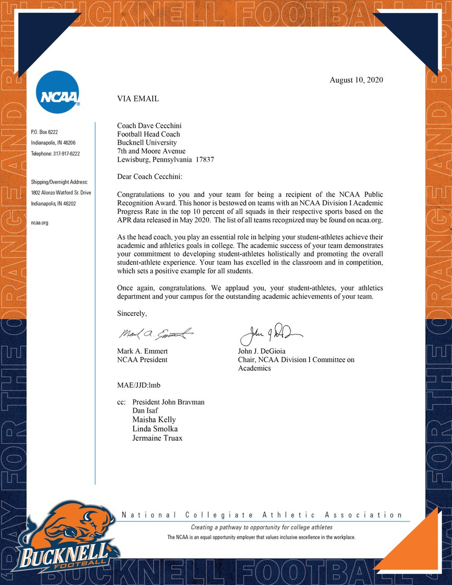 Its an honor to receive the NCAA Public Recognition Award. Were so proud of our Bison, who excel in the classroom and in competition. #ACT | #rayBucknell