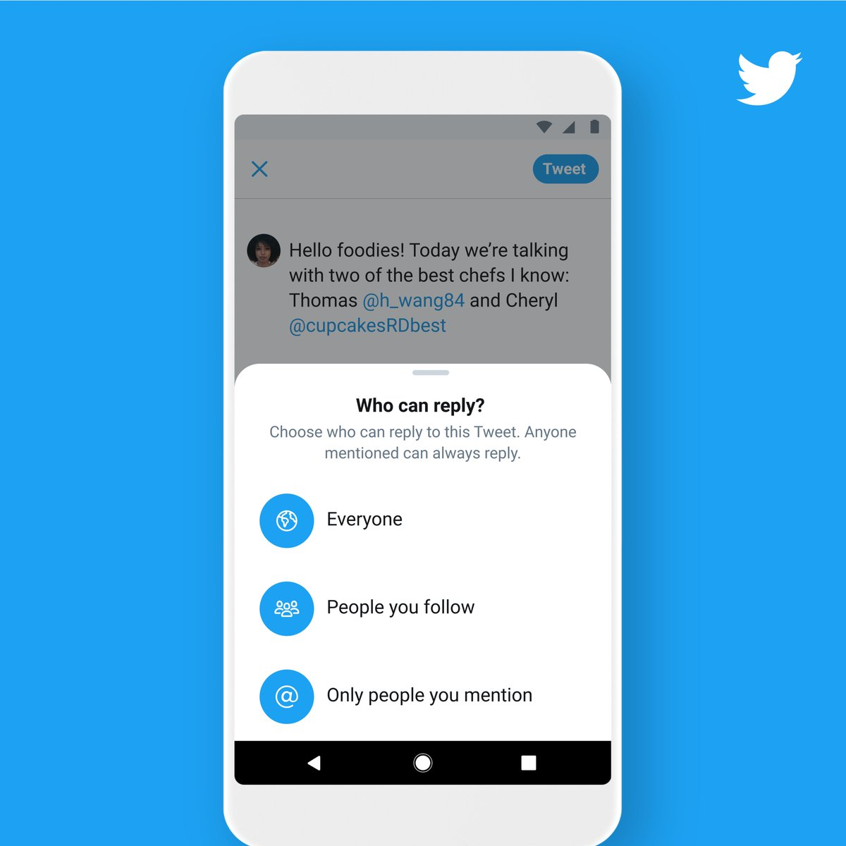 "This new conversation experience is here for everyone! When composing a Tweet, tap ""🌎 Everyone can reply"" to change who can reply.  We're just getting started with features to help you feel safer Tweeting and have more meaningful conversations. Details:"