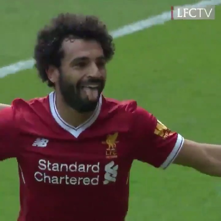 The first of many for the Egyptian King... 👑  #OnThisDay in 2017, @MoSalah scored his first @premierleague goal for the Reds 🤩 https://t.co/7Y2Mb57pRa
