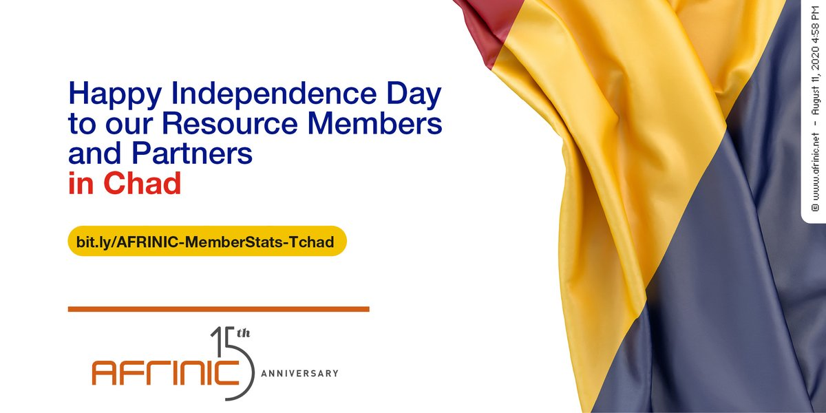 Happy Independence Day to our Resource Members and Partners in Chad. See our Resource Member Country Statistics here>> https://bit.ly/AFRINIC-MemberStats-Tchad…  #weareafrinic #internet #tech #AFRICA #Chad #NDjamenapic.twitter.com/u0bh0TbpGc