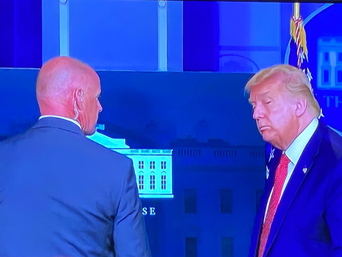 """On Monday, as he stood at the Presidential podium, the Secret Service agent entered the room & said to him, """"Sir — would you come with me?"""" And Trump obeyed, following the agent out the door. No force necessary. And like that, he was gone.  A dress rehearsal for 12:01pm, 1/20/21. https://t.co/NnT2OwZS12"""