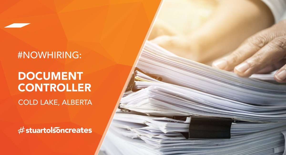 #Now Hiring: Document Controller to join our Industrial Group team based in Cold Lake, Alberta. Learn more about this dynamic role that will support our Quality and Safety Management System's policies, procedures and values: https://bit.ly/32Lm09R . #stuartolsoncreatespic.twitter.com/IfZxmdNxtQ