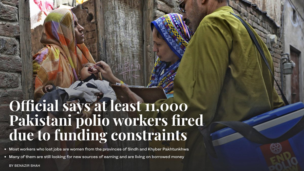 At least 11,000 anti-#polio campaign workers in #Pakistan have lost their jobs since June due to restructuring of anti-polio program, coordinator NEOC @drsafdar64 told #ArabNewsPK. || #PolioFreePakistan – Read special by @Benazir_Shah: https://t.co/NqMY4EglTt https://t.co/qYNJqEnqpr