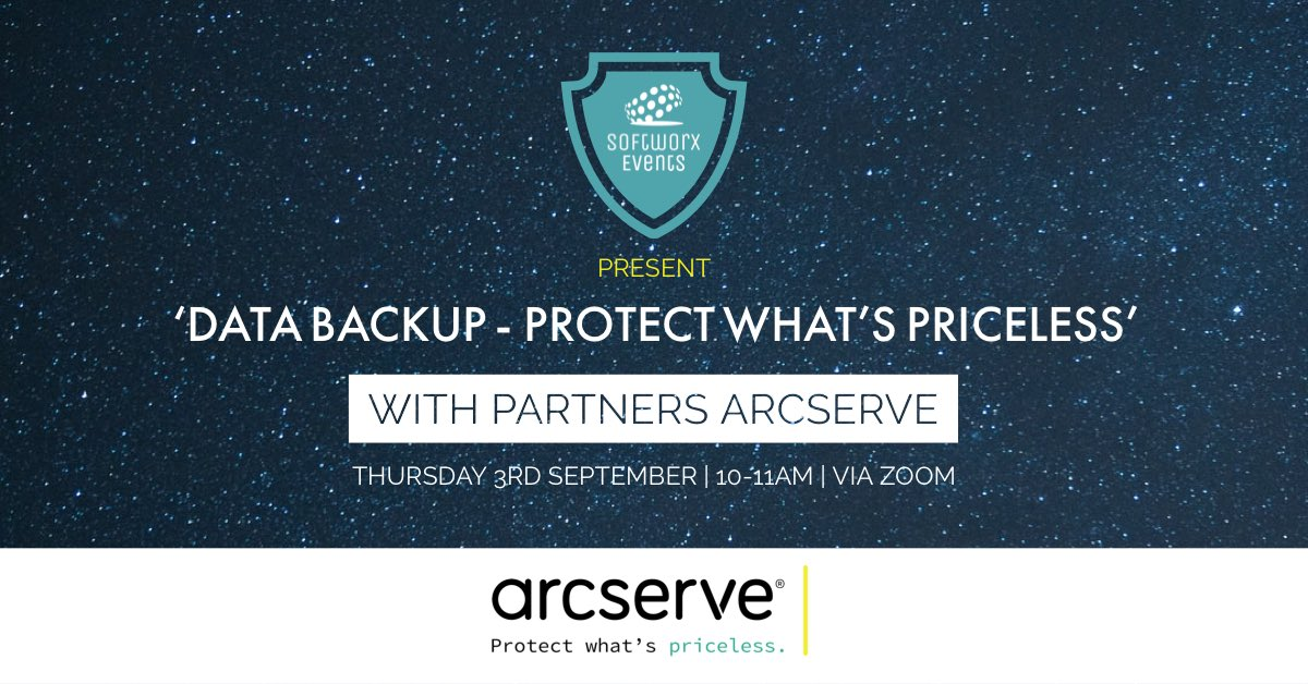 Are you ready? We're excited to share that our next @SoftworxLtd #event with partners @Arcserve takes place on 3rd September.   Find out more about our virtual 'Data Backup - Protect What's Priceless' event and register today: https://www.softworx.co/news/our-softworx-events-return-…  #MakeItSoftworxpic.twitter.com/Vuhh0MmUeg