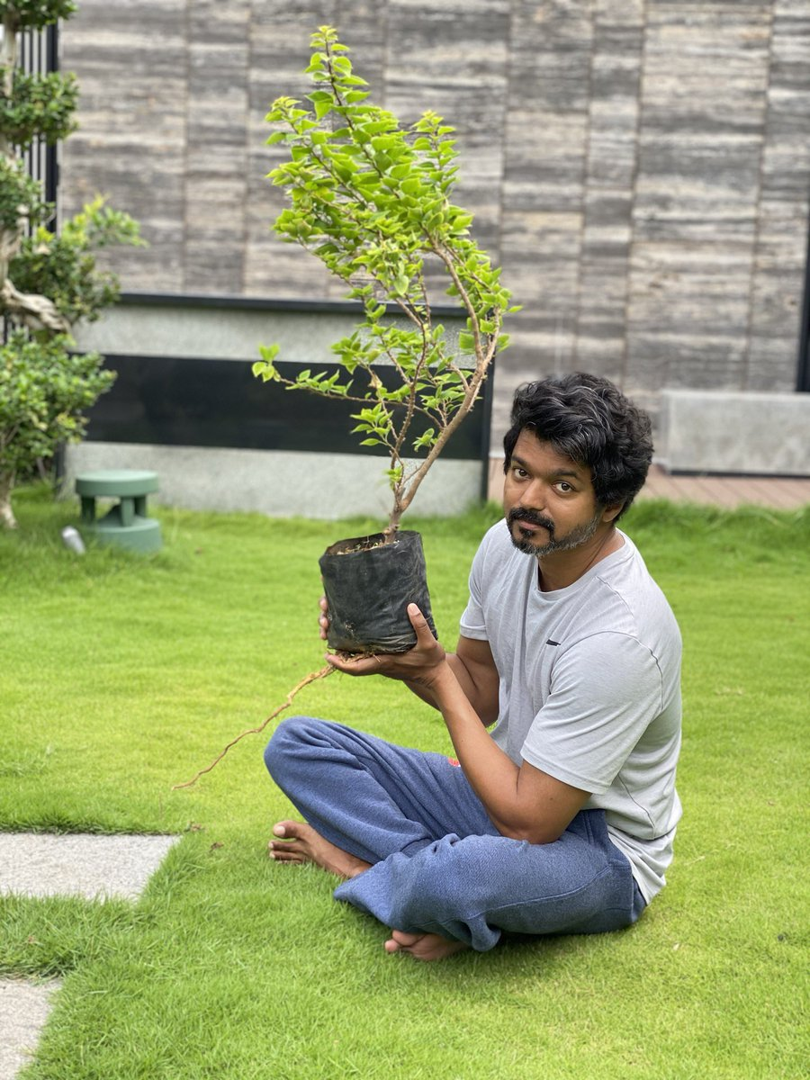Accepting mega super star @urstrulyMahesh s💞💐🎉 #GreenIndiaChallenge ... THE Thalapathy @actorvijay accepts the challenge and planted saplings 🌱🌍 #ThalapathyVijay ROCKS 💥💫💞