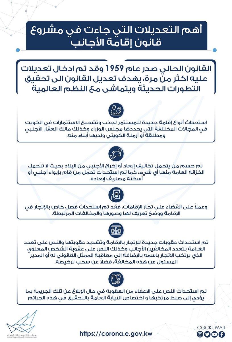 أهم التعديلات التي جاءت في مشروع قانون إقامة الأجانب #CGCKuwait https://t.co/2KBjMVKV1m
