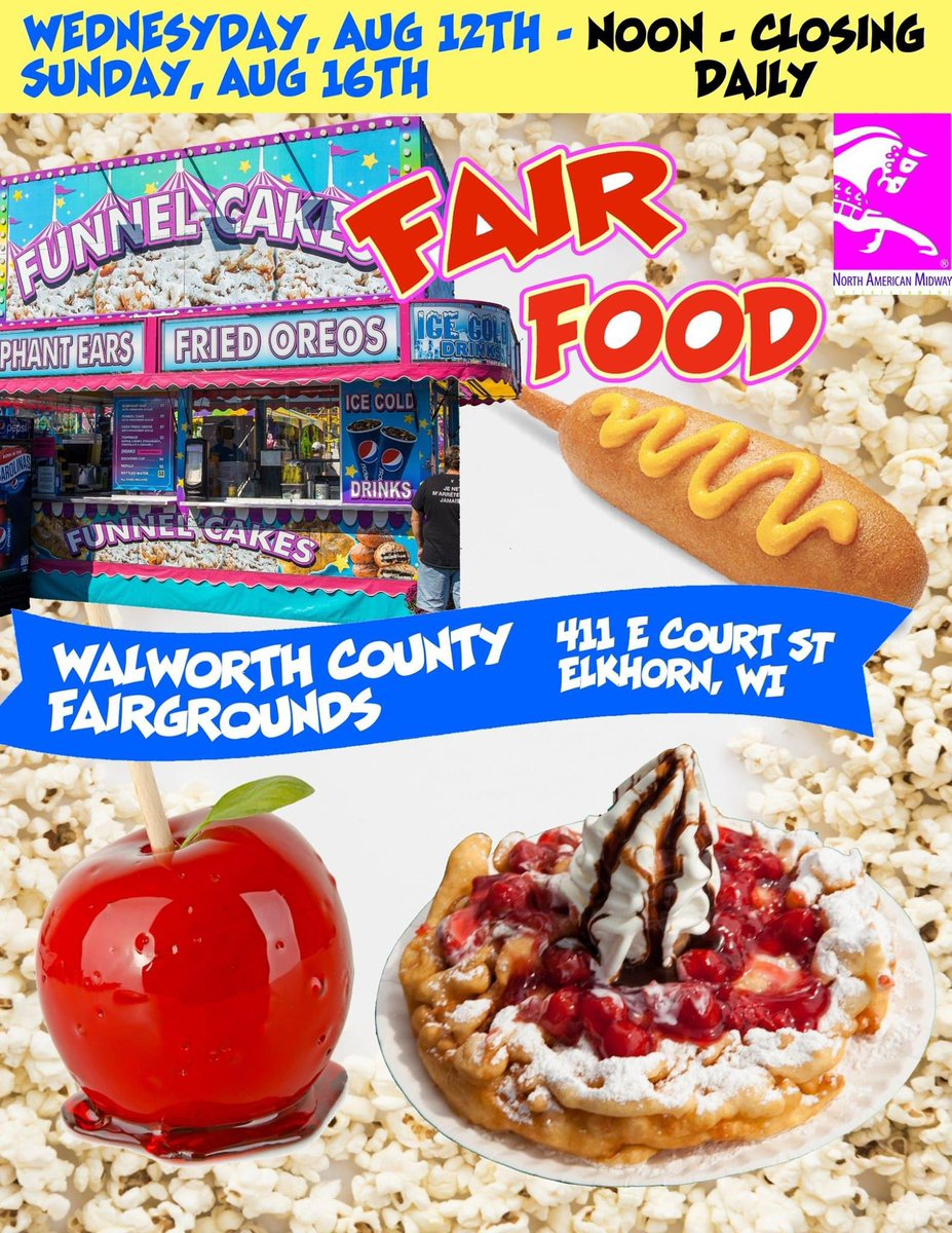 Hosted by @northamericanmidway #fairfoodfinds #openatnoon #walworthcountyfairgrounds #elkhornwi https://t.co/S2aewCisGf