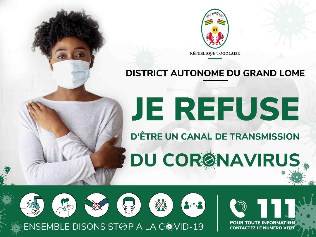 La #Covid19 est toujours dans nos mûrs.   Refusons de servir de canal de transmission à ce virus au #Togo et particulièrement dans le #Grand_Lomé en respectant les gestes barrières.   #DAGL #GrandLomé #CovidTg_19 #StopCovid_19 https://t.co/gpkxuz8Vv4