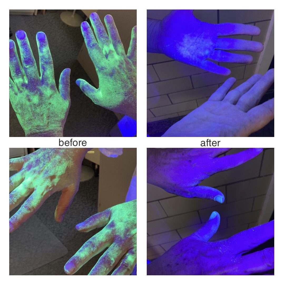 Staff at the Soldiers' Home in Holyoke are continuing education about proper hand hygiene by using a special glo-germ powder and UV light! This glow-in-the-dark technique helps illustrate how important it is to thoroughly wash hands 🙌 https://t.co/CuUMt2BVjv
