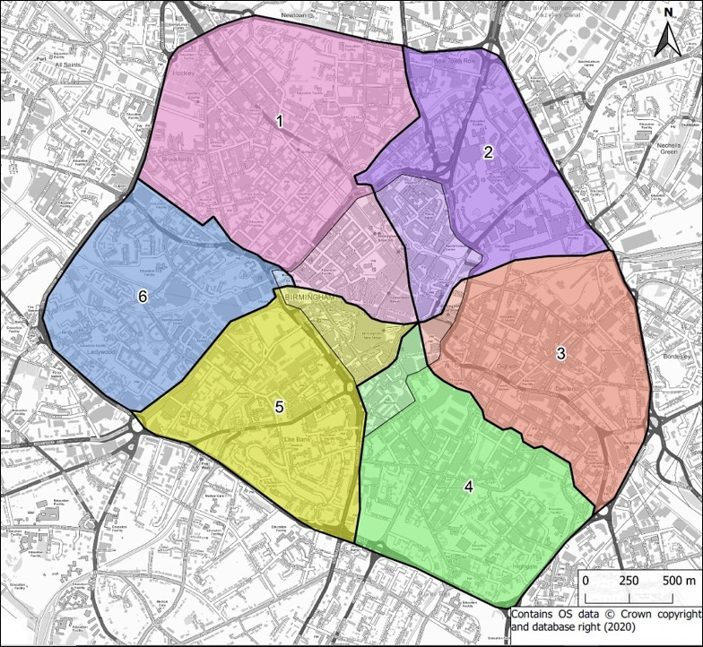 Map of Birmingham city centre divided into six segments