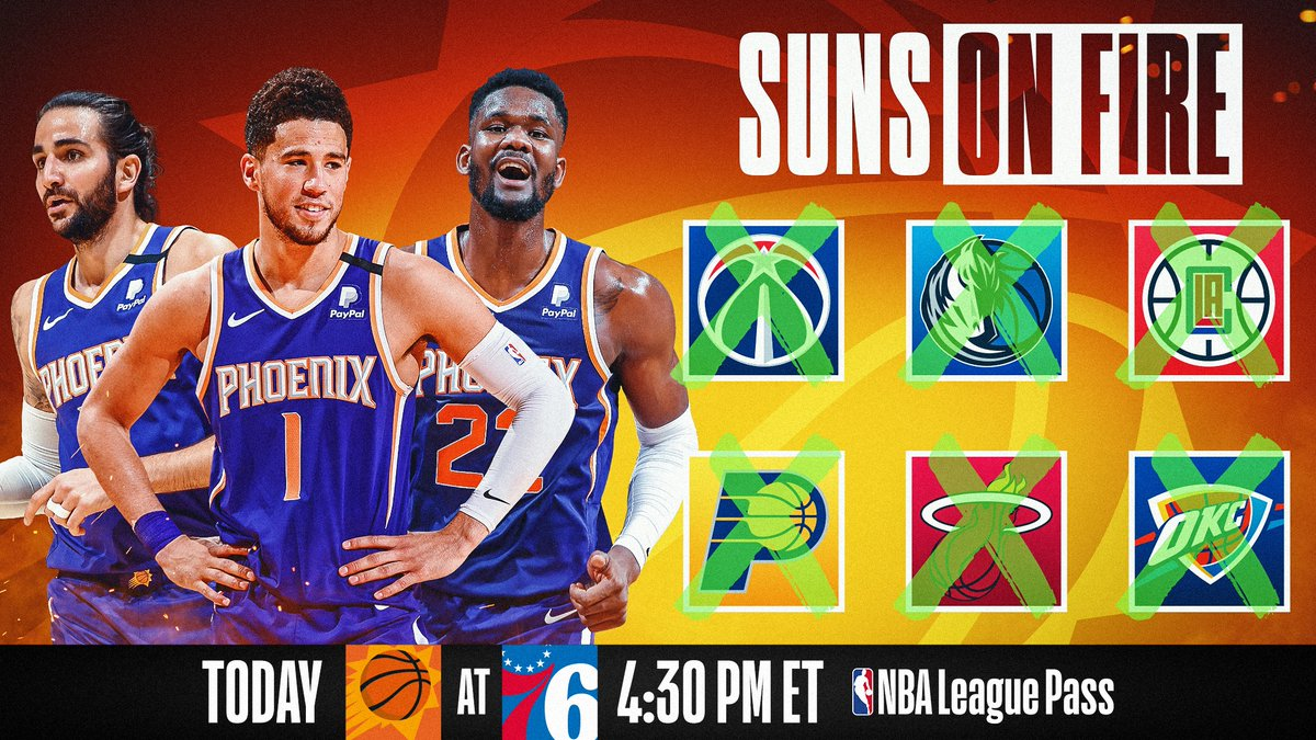 🔥 Phoenix is feelin' it 🔥  The @Suns put their perfect 6-0 NBA Restart record on the line in a crucial match up with the 76ers today at 4:30 PM ET on NBA League Pass!  PHX is eliminated with a loss and POR win. #WholeNewGame  📲💻: https://t.co/3boM6jSbND https://t.co/rUek0BilNP