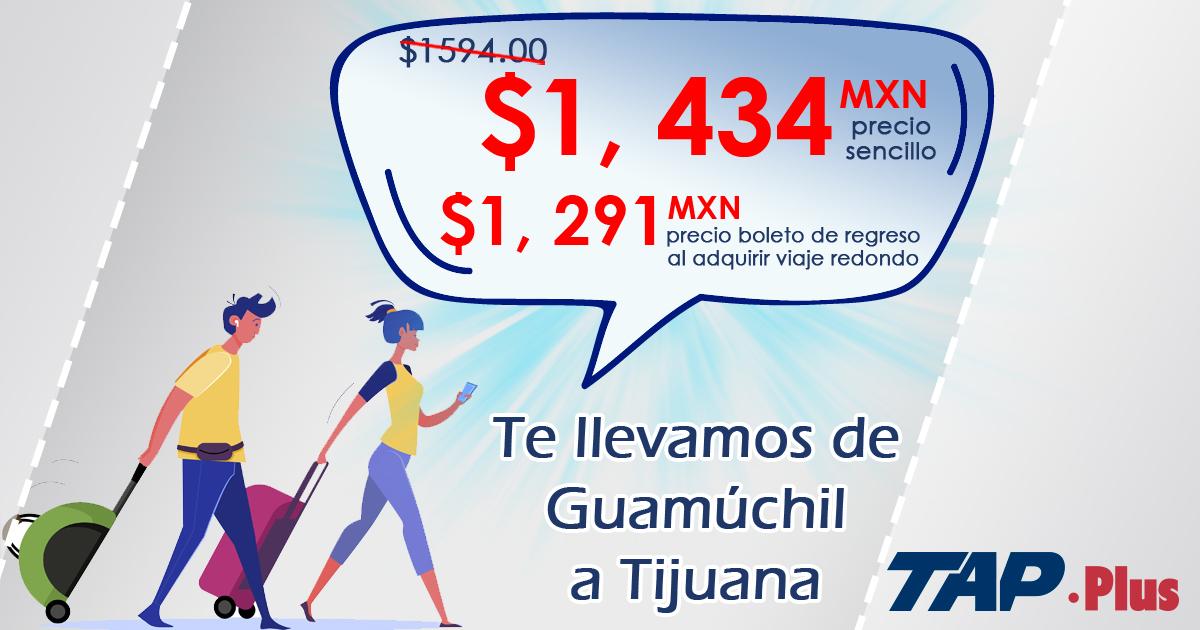 Es el momento de viajar a #Tijuana en #TAPPLUS desde #Guamúchil Compra tus boletos en http://www.tap.com.mx con un 10% de descuento 10% por tu boleto de regreso #ViajaSeguroConTA Precios y promoción sujeto a cambio sin previo avisopic.twitter.com/QU0ux5OhLc
