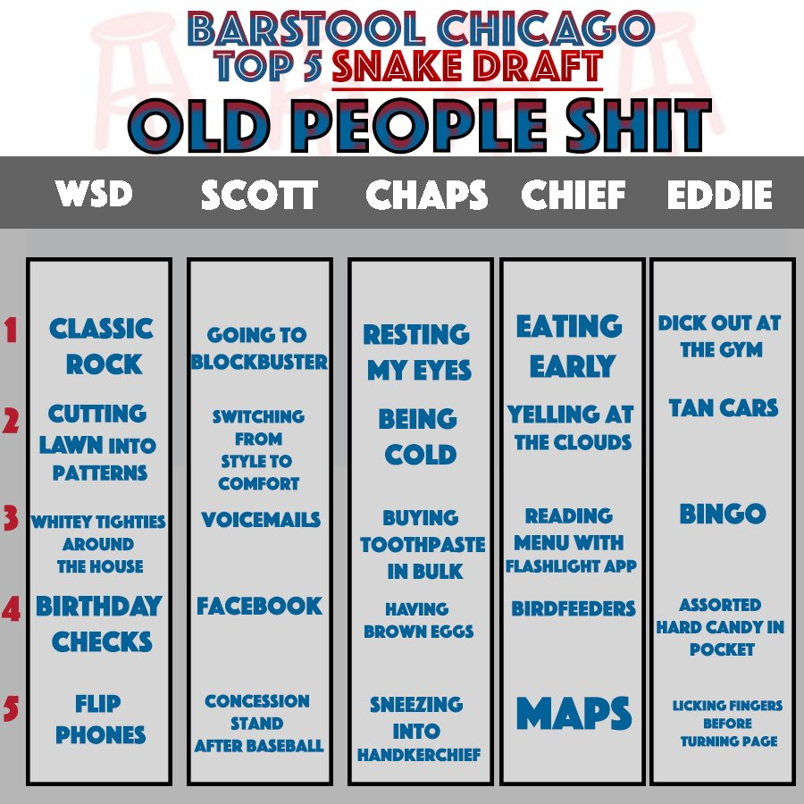 """The Dog Walk on Twitter: """"Who had the best """"Old People Shit"""" draft? Reply  for Scott"""""""
