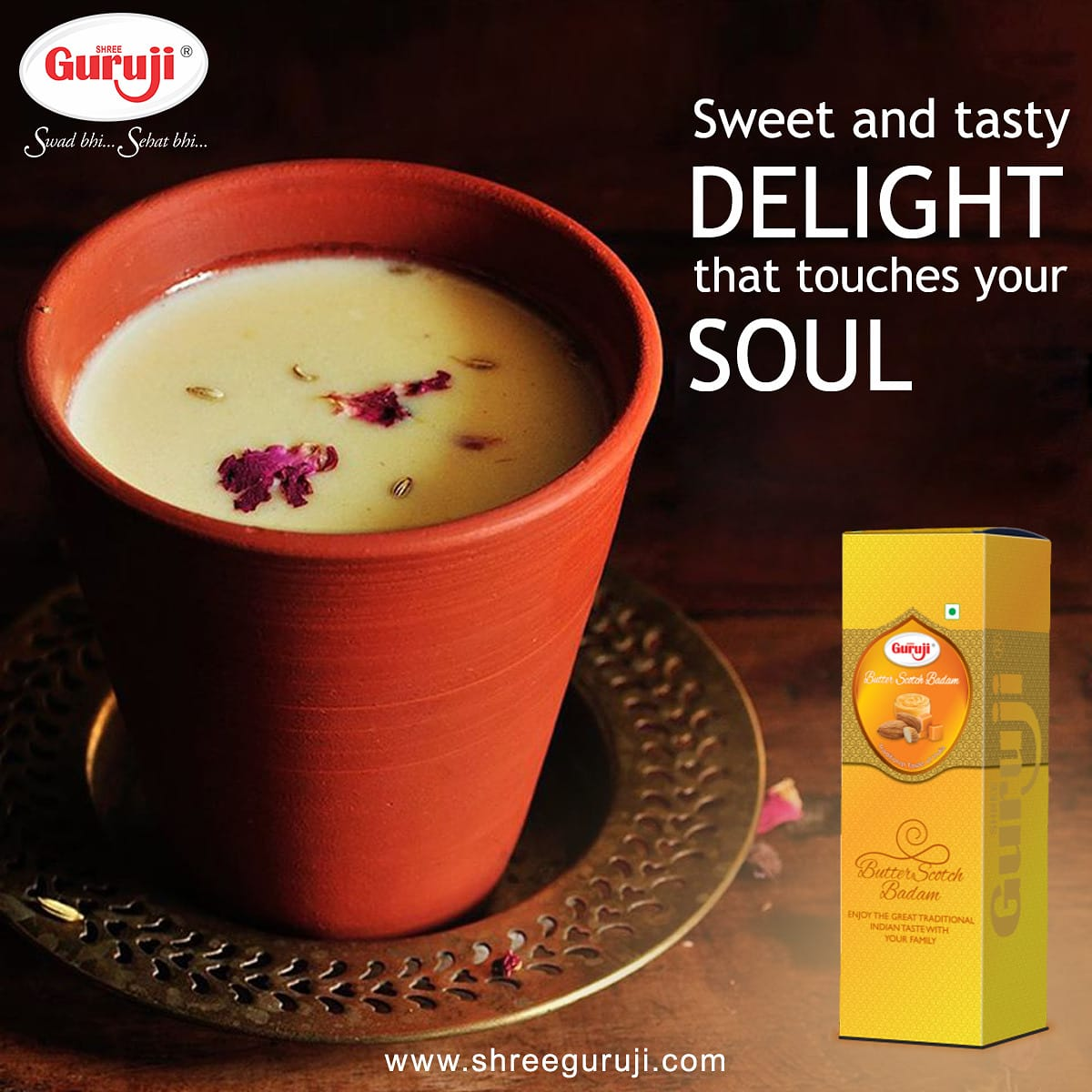 Sweet and tasty delight that touches your soul. : : : : : #butterscotch #butbuterscotchbadam #butter #beverages #indianbeverages #flavouredmilk #ImmunitySupport #immunitybooster #gurujiproductpic.twitter.com/guqNJv3GNS