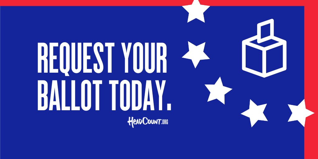 Its official: as of today, you can request your mail-in ballot for the November election from coast to coast. Request your ballot with @HeadCountOrg at HeadCount.org/votefromhome