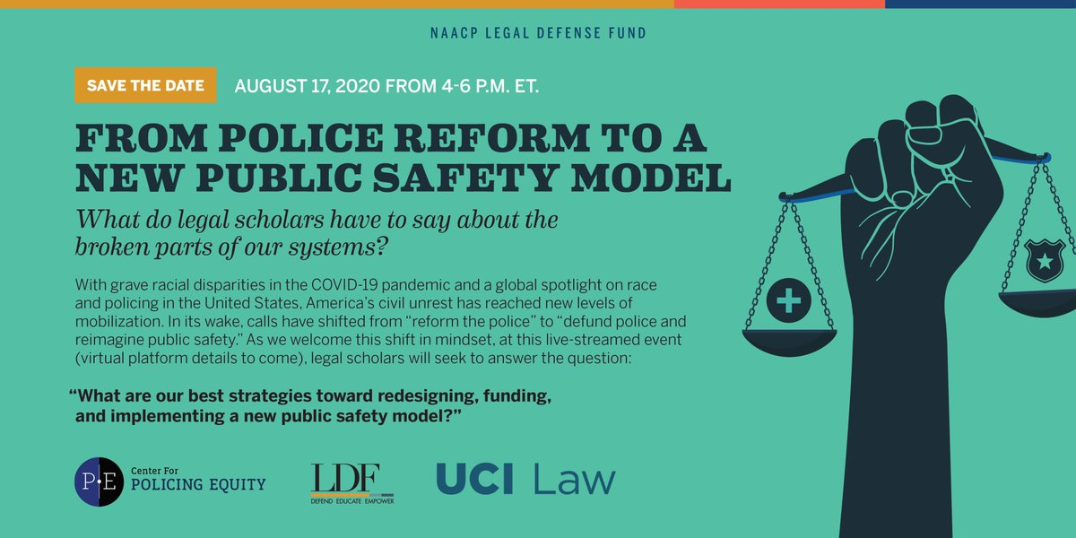 On Monday, August 17 at 4pm EST, LDF, Center for Policing Equity, and @UCILaw will host an important event to unpack the new vision for public safety.  RSVP here: https://t.co/oZrZosA1w5 https://t.co/tasrQWqnbE
