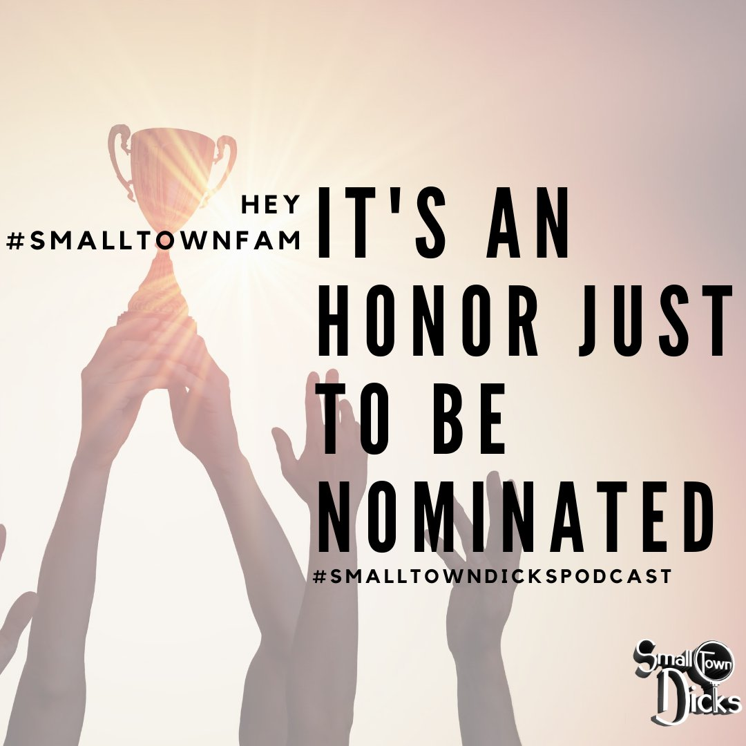 """Hey #SmallTownFam! We're nominated for @PodcastAwards in the """"Storyteller - Drama"""" category! It's fun to be nominated but it's extra fun to check out some of the other podcasts we're nominated alongside! Check out some of the other podcasts on the list in the thread below:"""