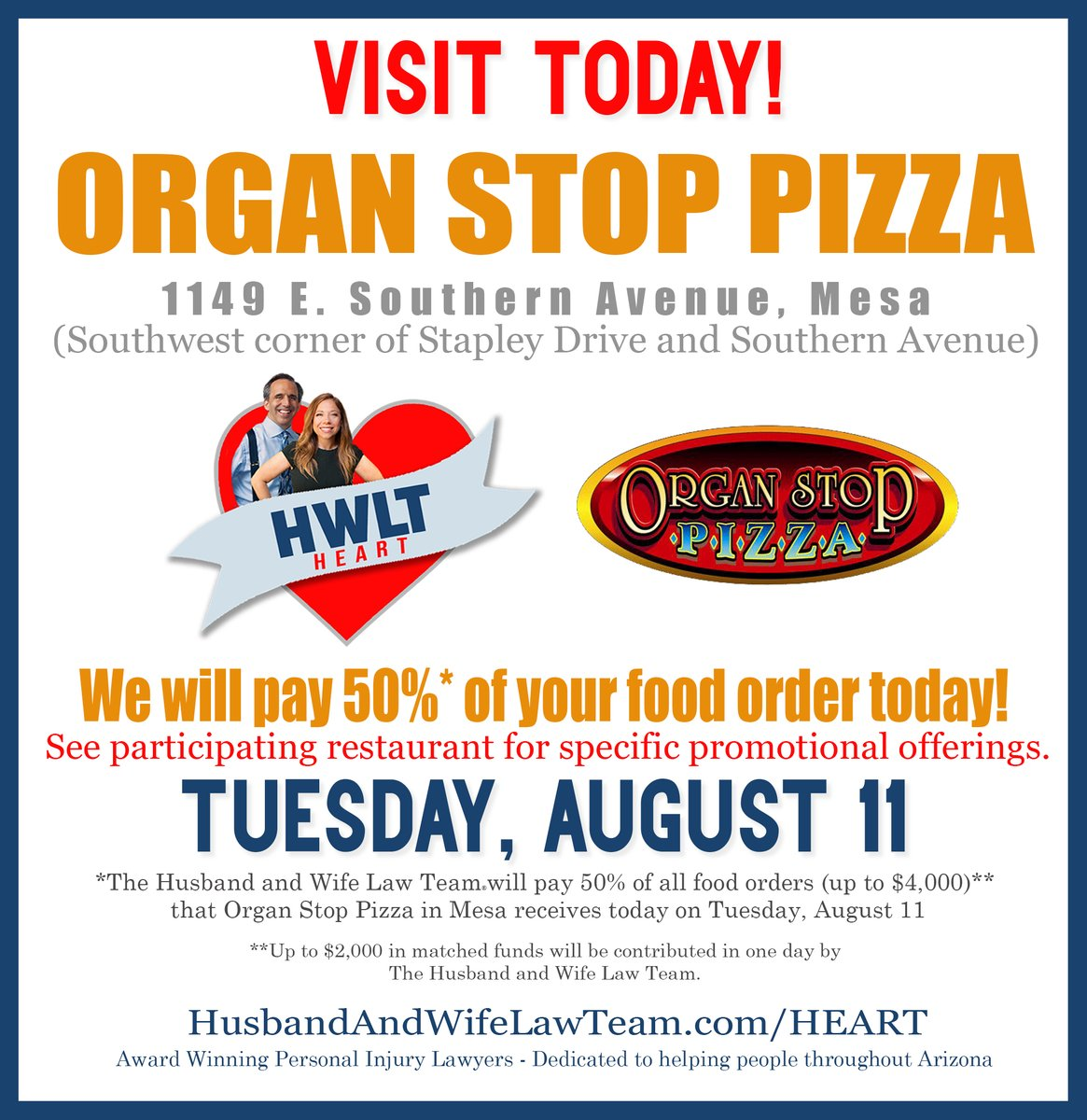 Our HEART Campaign is coming to @OrganStopPizza tonight and we will be paying for 50% of your food order!   1149 E. Southern Avenue, Mesa  5:00pm-9:00pm 480-513-5700 http://www.OrganStopPizza.com Cash/check only. Please see restaurant for specific promotional details.pic.twitter.com/bo3fjrKfP2