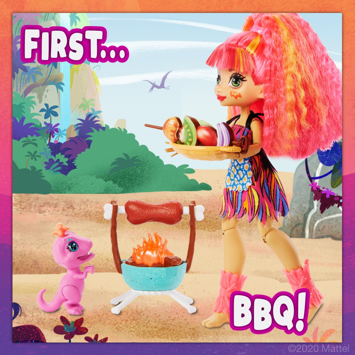 Emberly and her pet raptor Flaire are cooking up all kinds of fun! Do you have a favorite BBQ food? 🔥🍖 #CaveClub