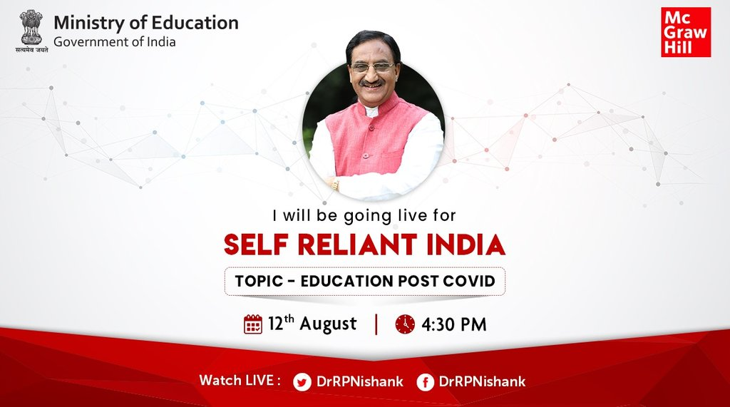 Dear all, join me LIVE tomorrow at 4:30 PM as I discuss '#Education - Post #COVID-19' via an interactive webinar organised by @MHEducationIN.  Looking forward to seeing you all LIVE tomorrow!pic.twitter.com/MeQczydwFO