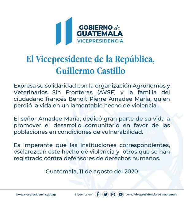 test Twitter Media - El Vicepresidente Guillermo Castillo se pronunció por el fallecimiento del ciudadano francés Benoît Pierre Amedee María. https://t.co/XMZgEW2LtF