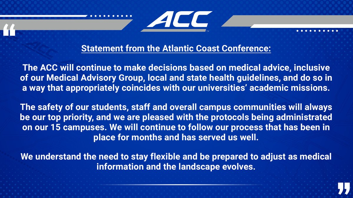 RT @theACC: Statement from the ACC: https://t.co/9lBY5h8jNy