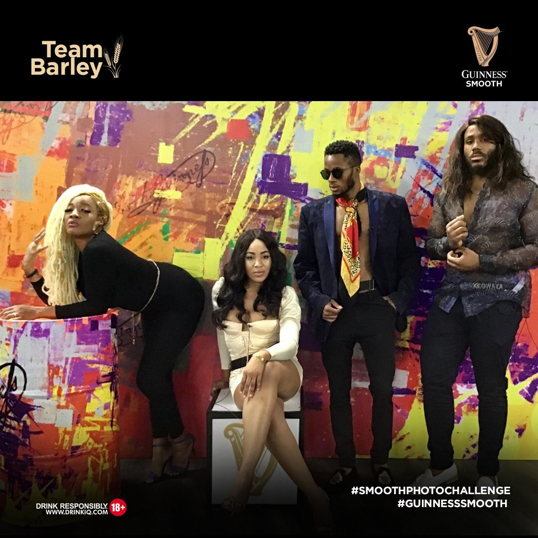 Is Team Barley the smoothest team ever? Retweet to help your favourite team win N1M in the #SmoothPhotoChallenge The team with the most retweet wins! Dont let us down. @BBNaija #GuinnessSmooth #BBNaija