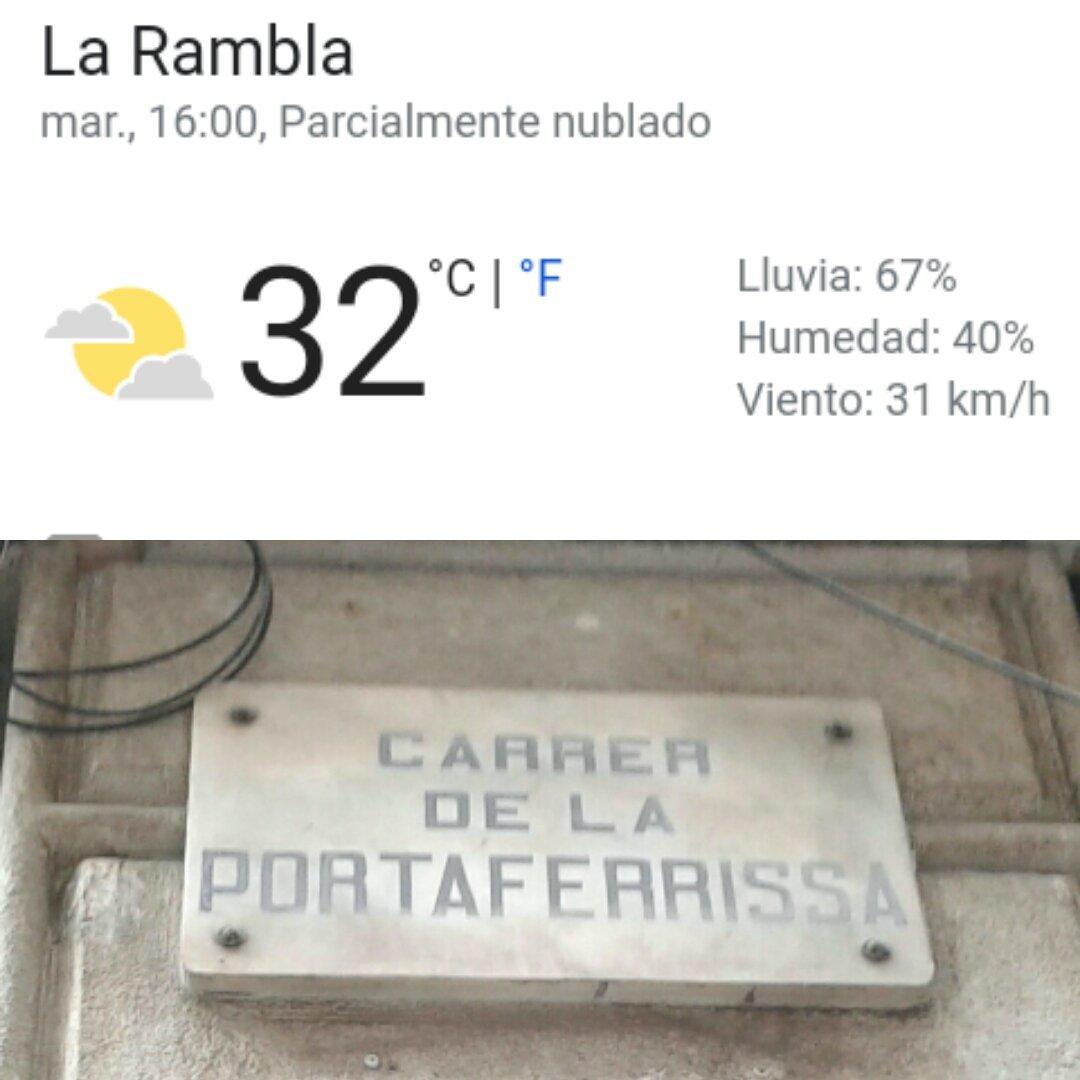 Enigmàtic fenomen tèrmic a #Barcelona: - La Rambla 32 graus 🐪🌋 - Carrer Portaferrissa 20 graus ❄⛄ Solució: L'aire fred dels comerços s'escampa pel carrer perquè han tret les portes @BCN_Ecologia @BCN_Comerc #Ecologia #sostenibilitat #canviclimàtic #EmergènciaClimàticaBCN https://t.co/iC7Q5lpxmw