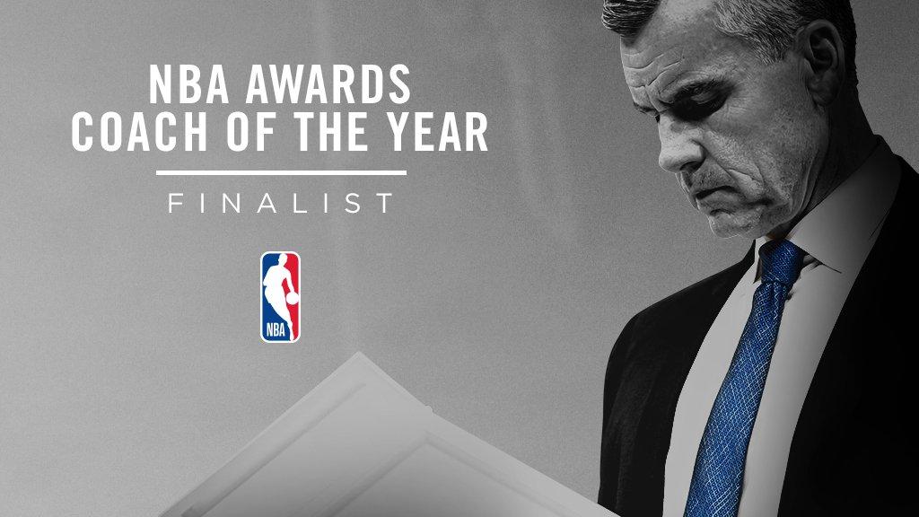 TIME FOR THE AWARDS-COACH OF THE YEAR. Yo tenía a Rick Carlisle (#MFFL ) y a Erik Spoelstra (#HeatTwitter ), entre mis candidatos y ninguno fue nominado. Al que SÍ tenía en mi lista: #BillyDonovan , de #ThunderUp , y ese es mi candidato al Coach of the Year en la #NBA https://t.co/TYZqwQ2hMK