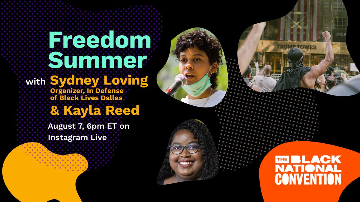 Join us this FRIDAY at 6PM ET on our IG LIVE with @iKaylaReed and Sydney Loving, of In Defense of Black Lives Dallas, to learn how were building local power to #DefundPolice and fight for electoral justice this #FreedomSummer2020!