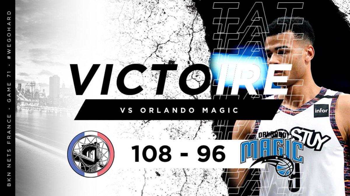 🏀✔️ ANOTHER GAME, ANOTHER WIN !  Avec 9 joueurs aptes mais un état d'esprit de guerrier les Nets battent le Magic 108-96 !  TLC et Martin scorent 24 points chacun, Musa inscrit 17 points (carrer high).  #WeGoHard https://t.co/1w5FhOgHVw