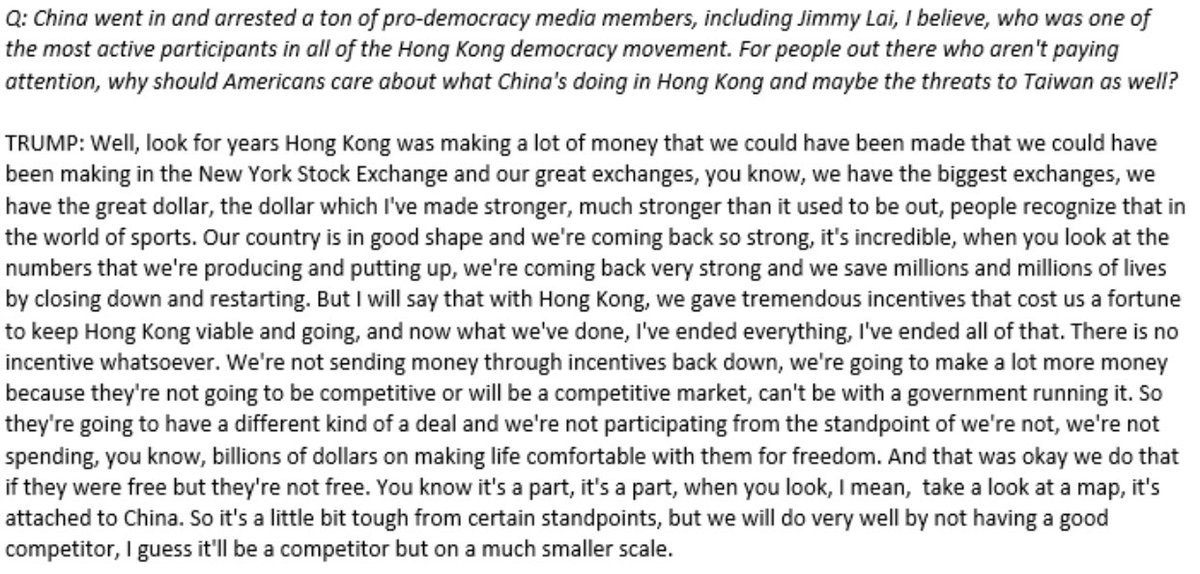 Asked about China's detention of pro-democracy leaders in Hong Kong, Trump says nothing about human rights or democracy. He says HK is a part of China and was taking value away from the NY Stock Exchange.👇