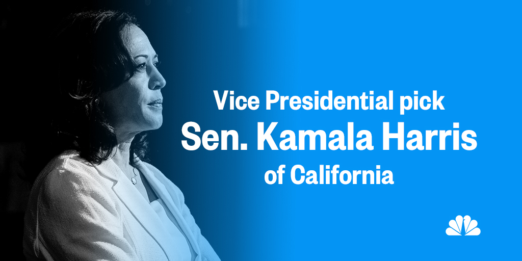 BREAKING: Joe Biden picks California Sen. Kamala Harris as his VP running mate. NBCNews.com