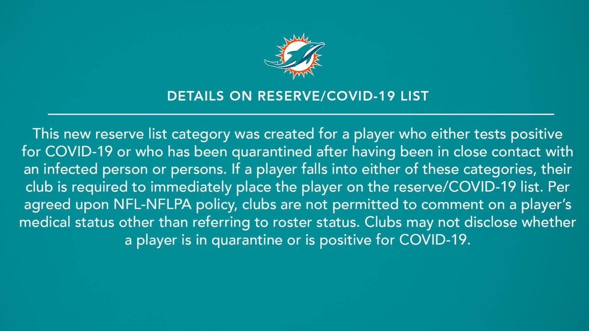 We have placed CB Xavien Howard on the reserve/COVID-19 list.