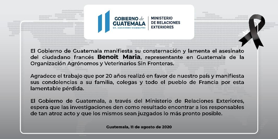 test Twitter Media - Gobierno de Guatemala lamenta el fallecimiento del ciudadano francés  Benoit Maria . https://t.co/Y6FPhxBte7