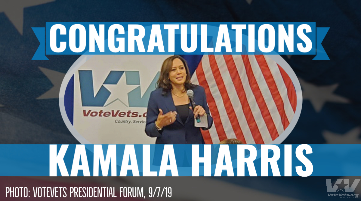 .@KamalaHarris is a tireless champion of Americas veterans, service members, and their families. We were honored that she joined VoteVets Presidential Primary Forum in New Hampshire last year -- and were ALL IN to help elect her as Vice President this November! #BidenVP
