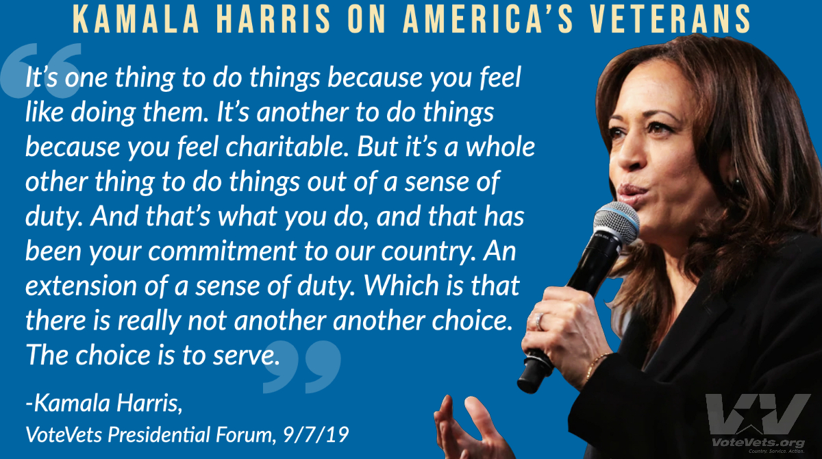 .@KamalaHarris understands why Americas service members wear the uniform - and shell fight for them every day as Vice President. ⬇️ Her remarks delivered at VoteVets Presidential Forum. #BidenVP