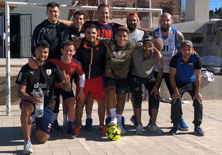 Lucas Torreira enjoying himself with friends back in Fray Bentos.