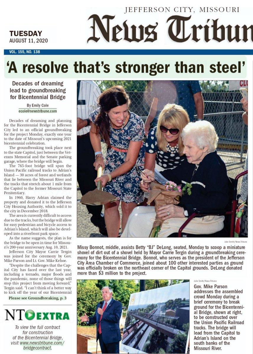 Sometimes a headline really says it all. Thank you BJ DeLong! #BicentennialBridge #StrongerThanSteel https://t.co/Erkbw8WcfQ https://t.co/hYngQilFhl