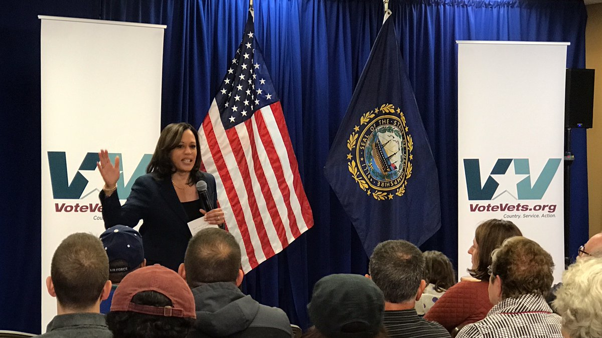 Ready to work hard for @KamalaHarris- a strong & dynamic leader and advocate for our service members, Veterans, and Military Families. Proud of her visit to #Manchester, #NewHampshire in Sept 2019 for our @NHDems #Veterans & Military Families Forum w/ @votevets. #nhpolitics