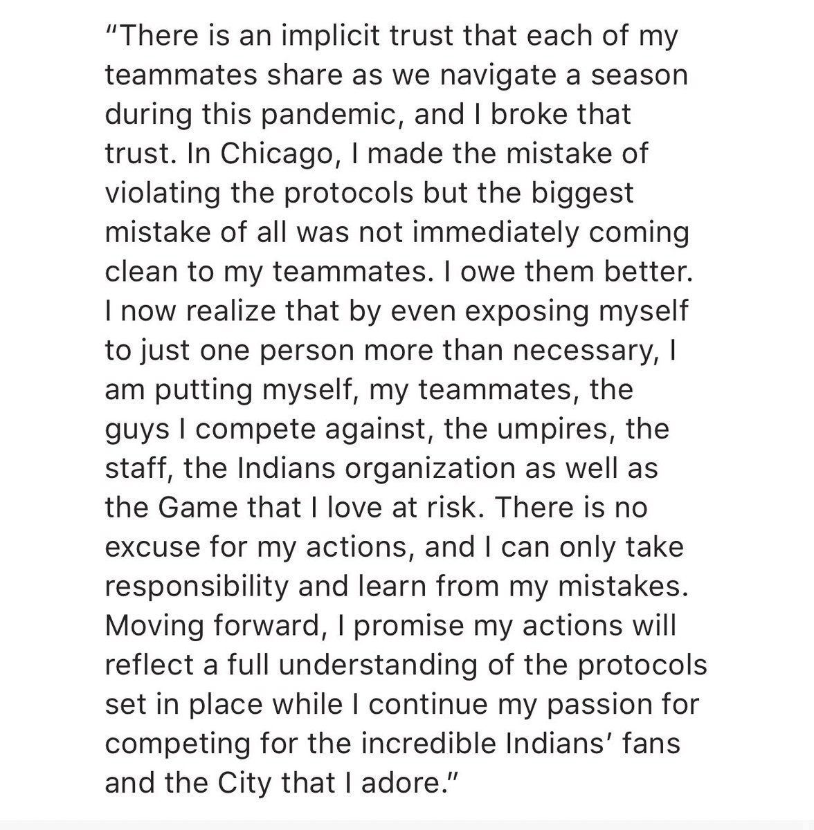 Statement from Mike Clevinger: https://t.co/4stsom0VIA