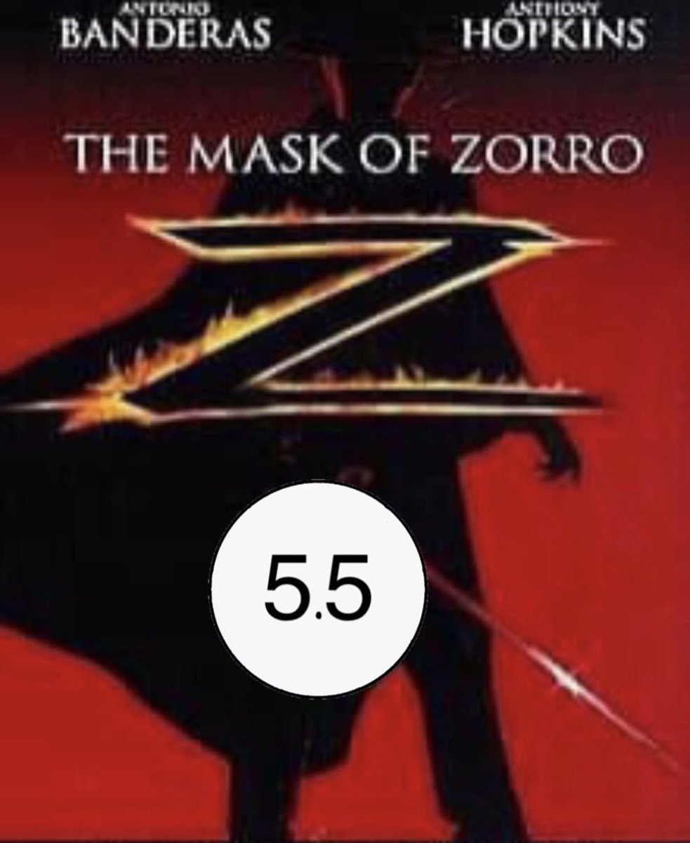 5.5  Entertainment:   Quick thoughts: This is a good popcorn flick but sometimes the chemistry between actors is non- existent.  #zorro #AntonioBanderas #anthonyhopkins #movie #movie #movietwit #MovieReview #moviesanywhere #movienight #love #moviescenepic.twitter.com/6JqVUKQOWA